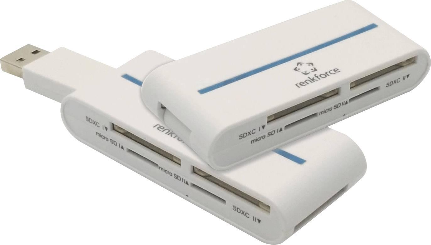 Externá čítačka pamäťových kariet Renkforce CR25, USB 3.0, biela