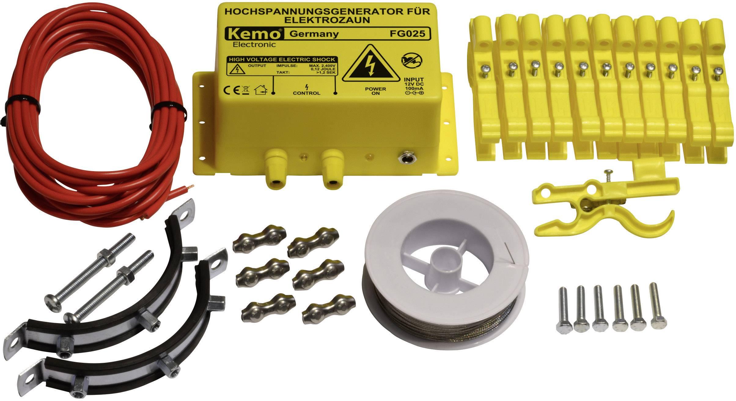 Elektrický ohradník proti kunám a mývalom Kemo FG025Set