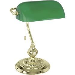 Stolní lampa halogenová žárovka E27 60 W EGLO Banker Traditional 90967 mosaz, zelená