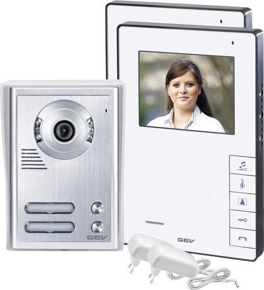 Domový telefón káblový kompletná sada, GEV 088337 2 rodiny, biela, strieborná