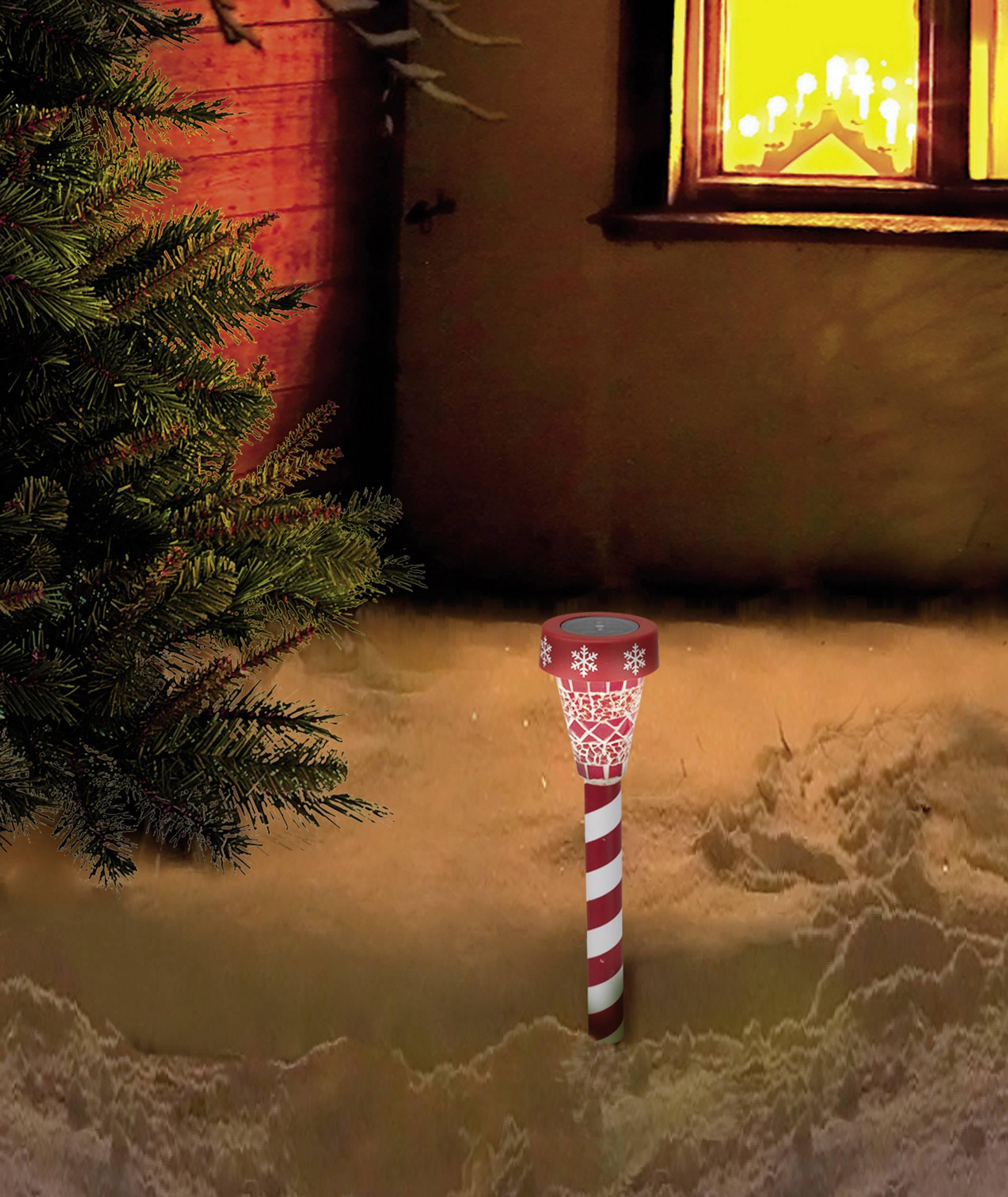 Vianočné solárne svetlo na záhradu Polarlite PSL-02-001, 1 LED, červená/biela