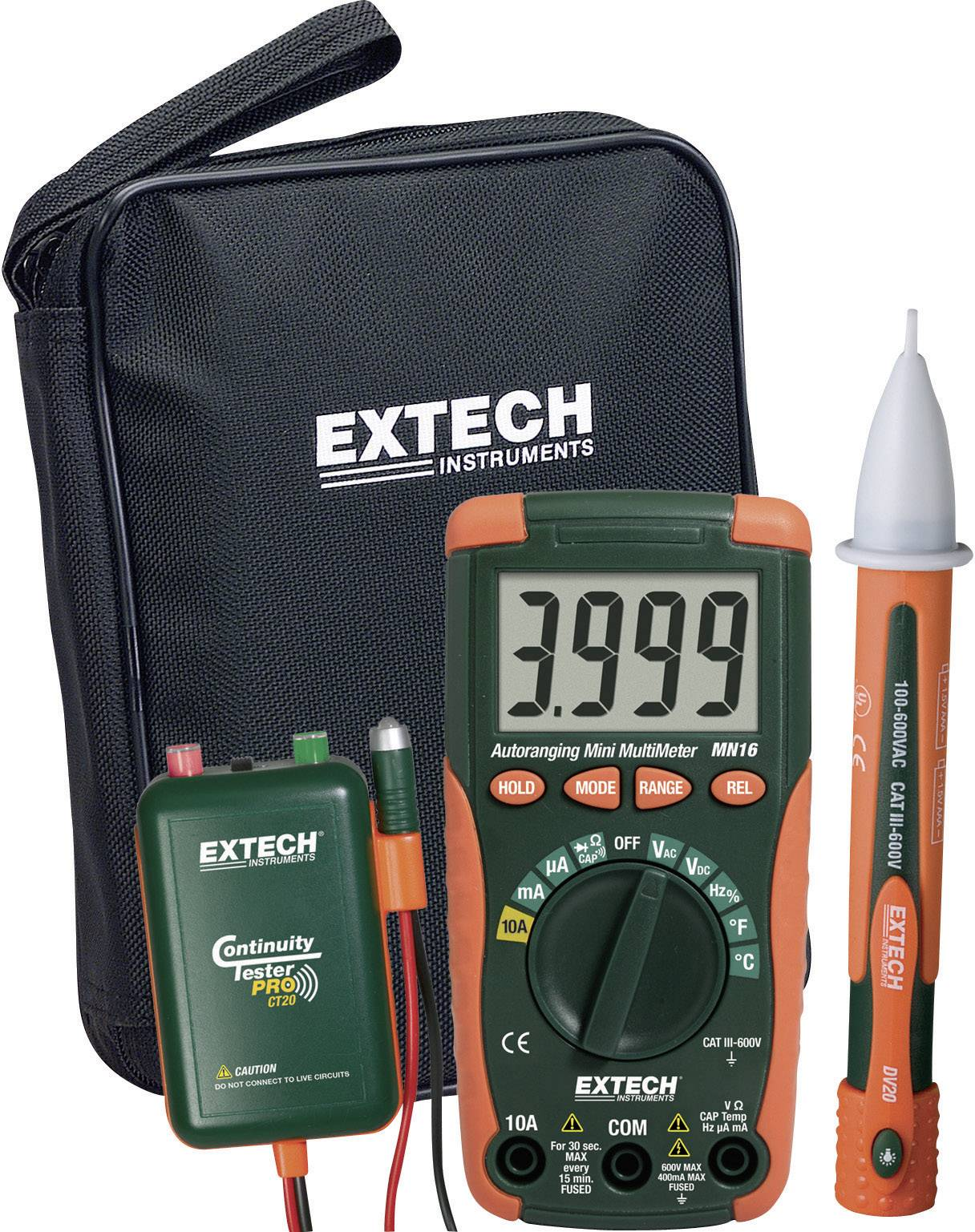 Digitálne/y ručný multimeter Extech MN16A-KIT MN16A-KIT