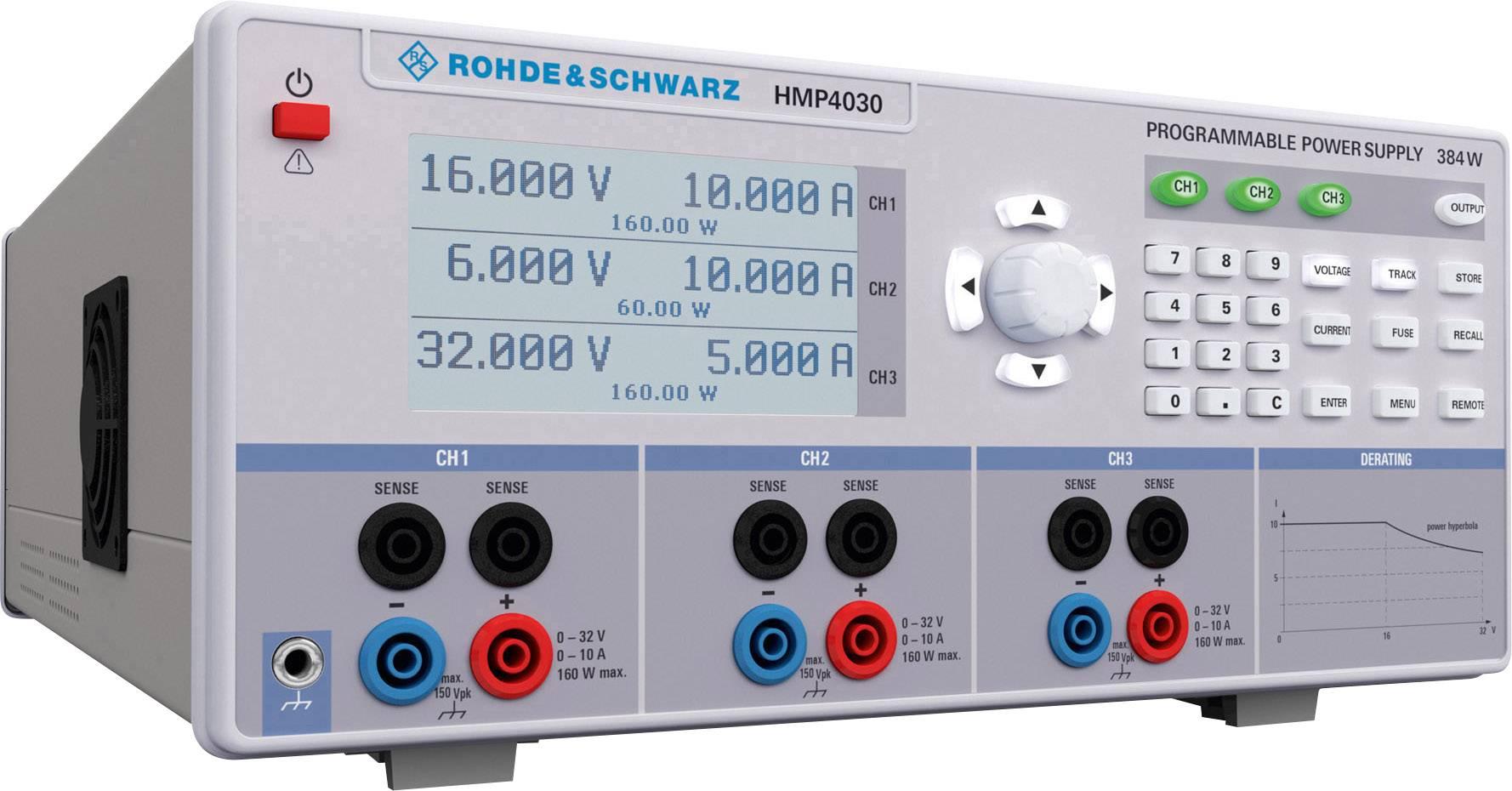 Laboratórny sieťový zdroj Hameg HMP4030, 0 - 32 V/DC, 0 - 10 A