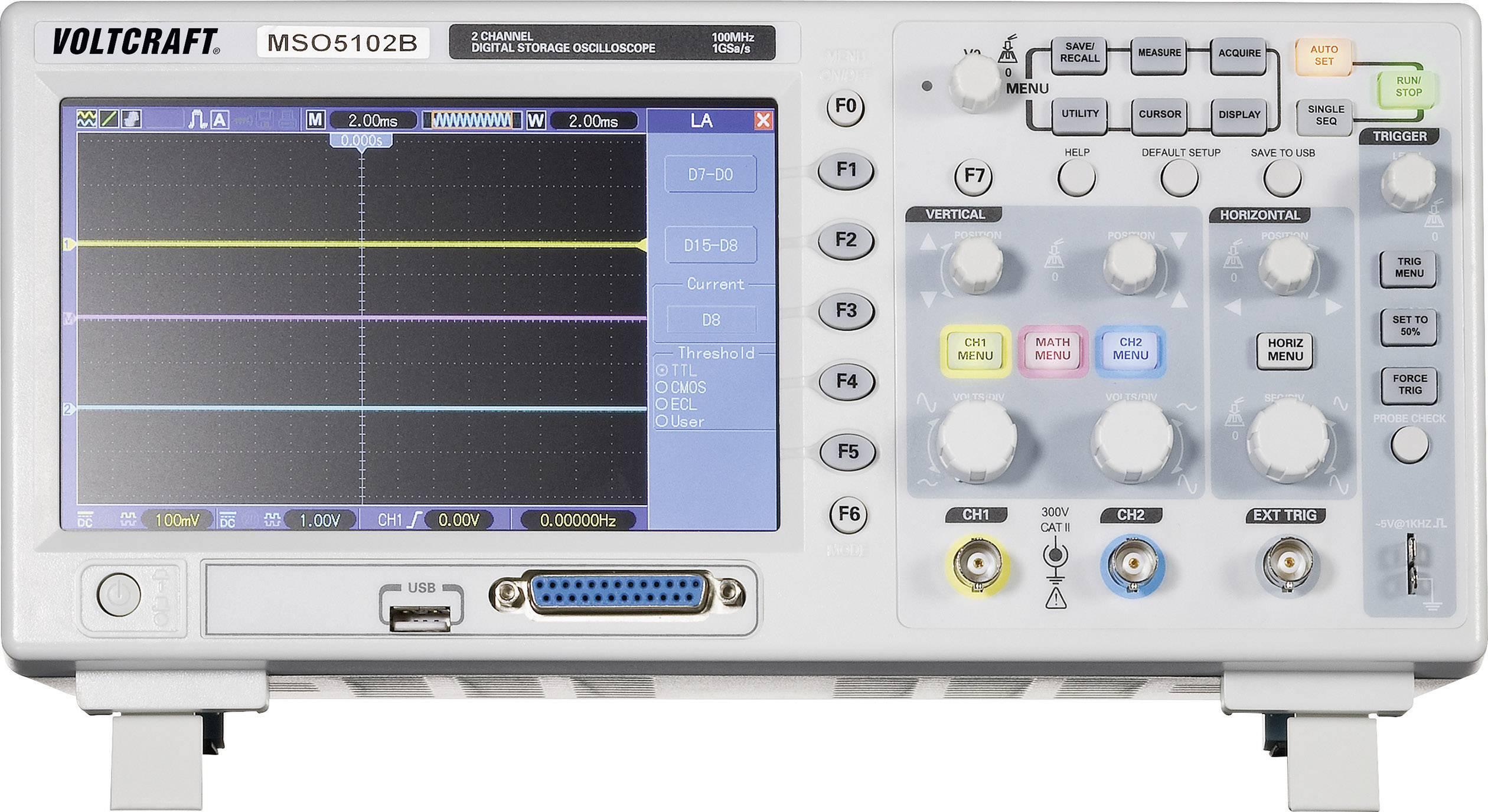 Digitálny osciloskop s pamäťou Voltcraft MSO-5102B, 2/16-kanálový, 100 MHz
