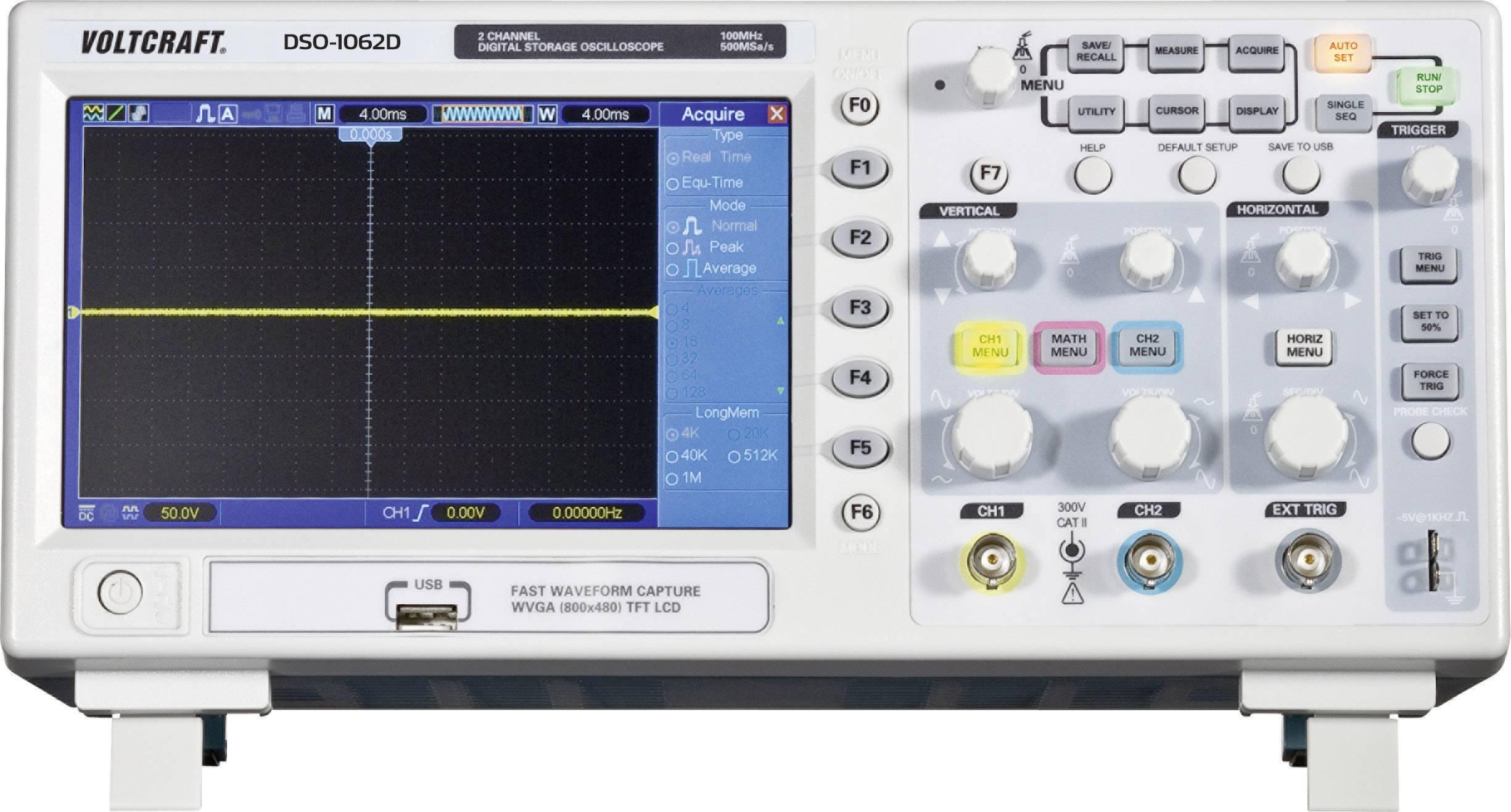 Digitálny pamäťový osciloskop Voltcraft DSO-1062D-VGA, 2 kanály, 60 MHz