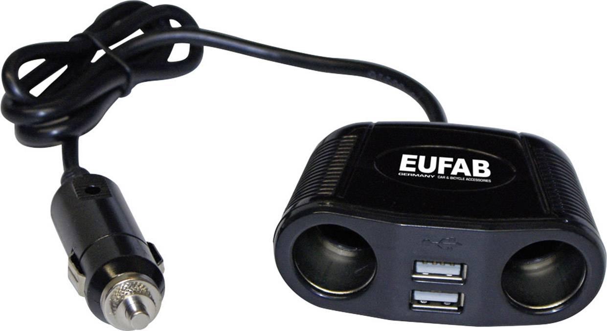 Rozdvojka s USB do autozásuvky Eufab, 16549, 2x USB, 12/24 V, 10 A
