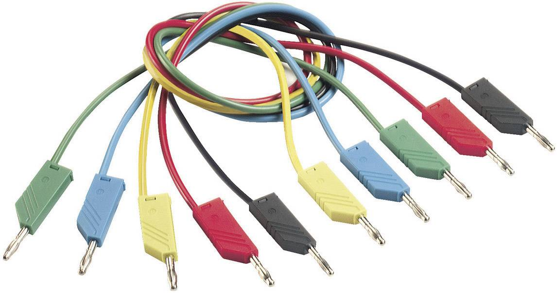 Měřicí kabel banánek 4 mm ⇔ banánek 4 mm SKS Hirschmann CO MLN 100/1, 1 m, modrá