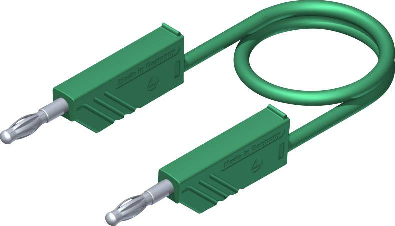 Merací silikónový kábel Hirschmann, 1 mm², dĺžka 0,25 m, zelený