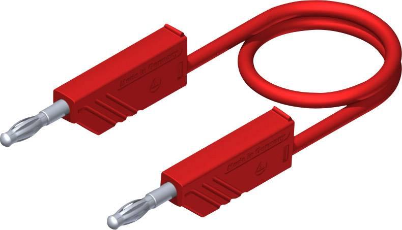 Merací silikónový kábel Hirschmann, 1 mm², dĺžka 0.5 m, červený