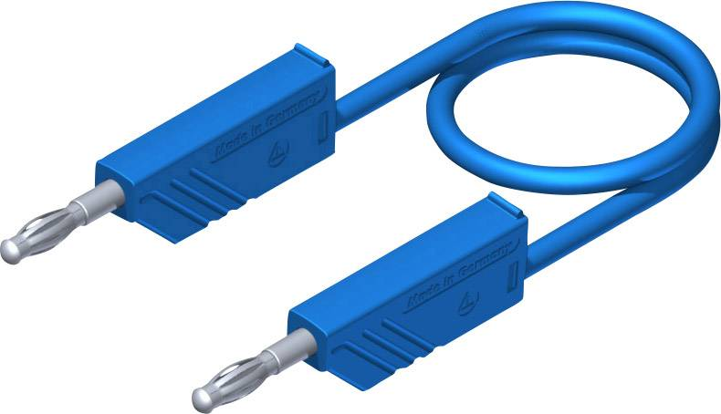 Merací silikónový kábel Hirschmann, 1 mm², dĺžka 2 m, modrý