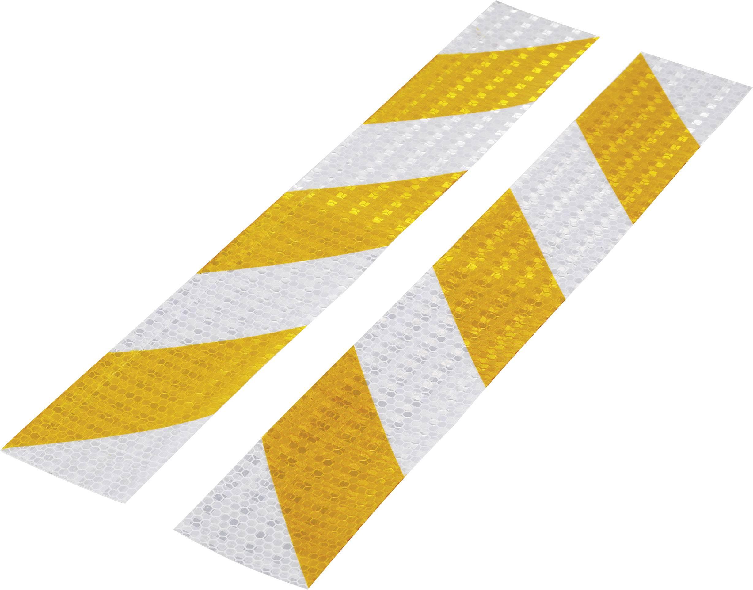 Warning stripe Conrad Components RTS60/400-YL 1226953, (d x š) 400 mm x 60 mm, strieborná, žltá, 2 ks