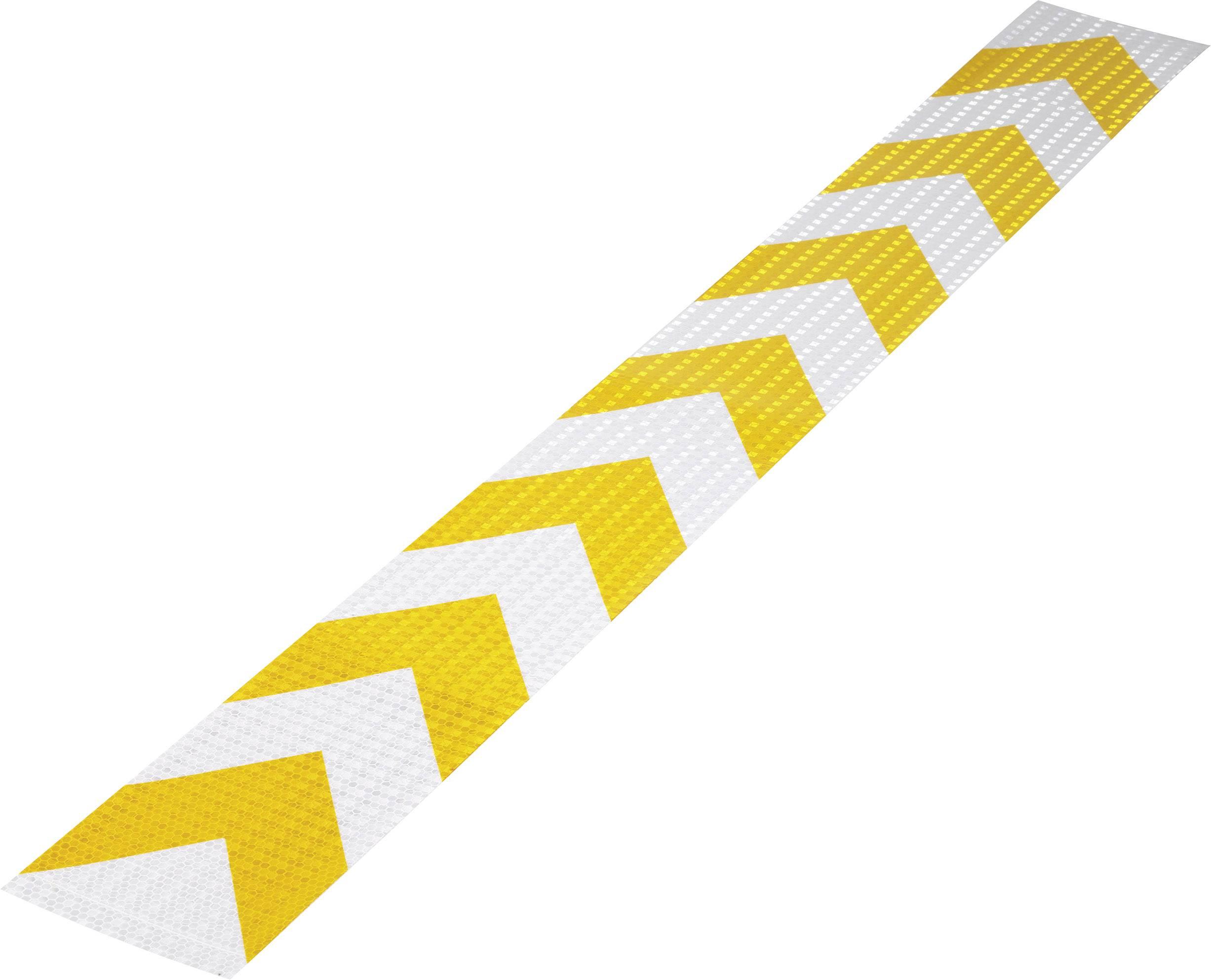 Warning stripe Conrad Components RTS115/1000-YL 1226958, (d x š) 1 m x 115 mm, žltá, strieborná, 1 ks