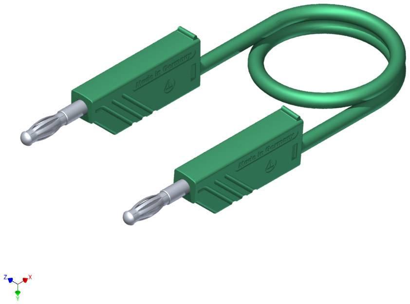 Merací silikónový kábel Hirschmann, 1 mm², dĺžka 2 m, zelený