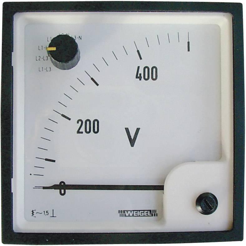 Analógový zabudovateľný merací prístroj Weigel EQ 72 SWT 0-500 V/AC