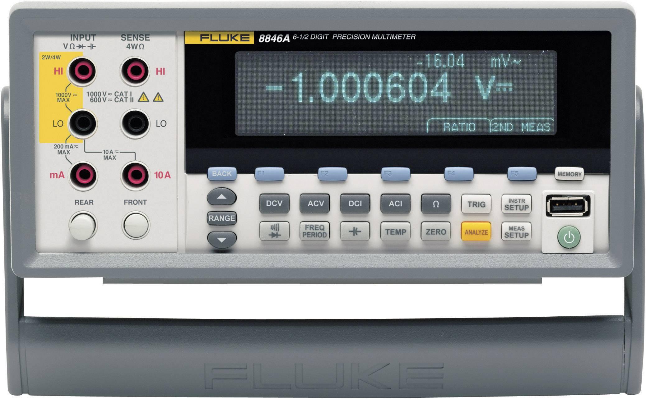 Stolní multimetr Fluke 8846A, 100 µΩ - 1 GΩ, 1 µHz - 1 MHz, 1 nF - 0,1 F, 200 - 600 °C