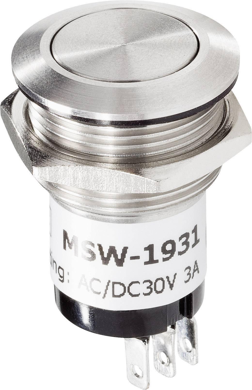 Zvončekové nerezové tlačidlo RENKFORCE, 24 V / 1 A, 22 mm