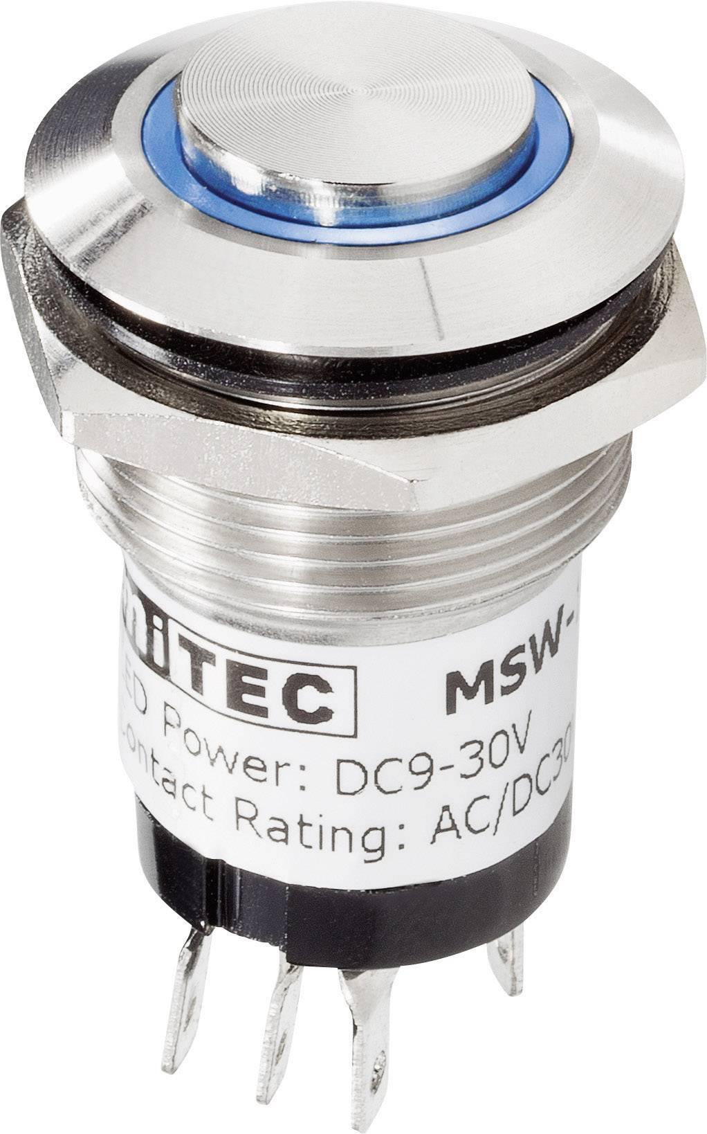 Zvonkové nerezové tlačítko Renkforce, 24 V/1 A, 28 mm, bílá LED