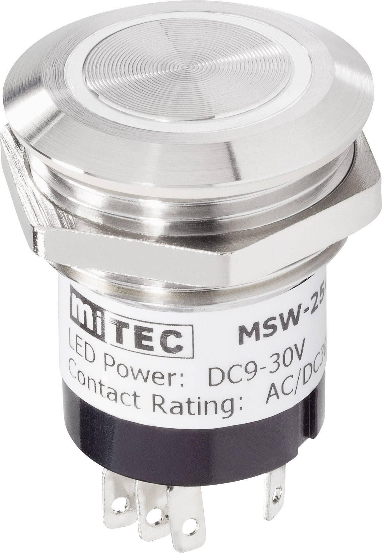Zvončekové nerezové tlačidlo RENKFORCE, 24 V / 1 A, 28 mm, biela LED