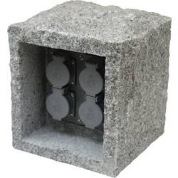 Zahradní zásuvka Heitronic 36071, granit šedá (matná), 4násobná