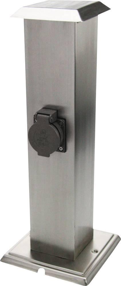 Zahradní zásuvka Heitronic 35107, nerezová ocel, černá, 2násobná Schuko