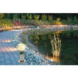 Nerezová zahradní zásuvka s LED světlem Heitronic 35113, 2x schuko zásuvka