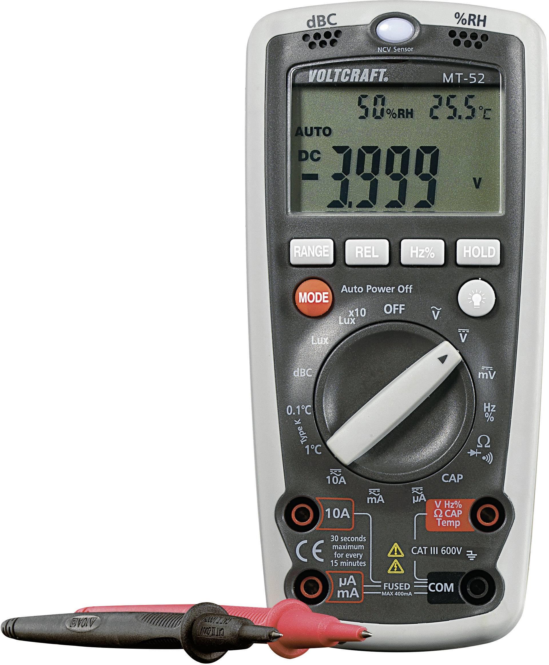 Digitálne/y ručný multimeter VOLTCRAFT MT-52 MT52, funkcia merania životného prostredia