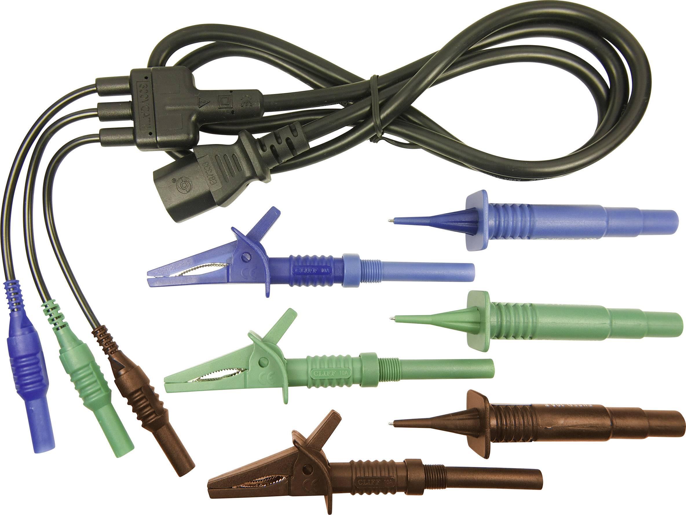 Merací kábel zástrčka 4 mm ⇔ IEC zásuvka C13 Cliff CIH29925, 1,5 m, modrá/zelená/hnedá
