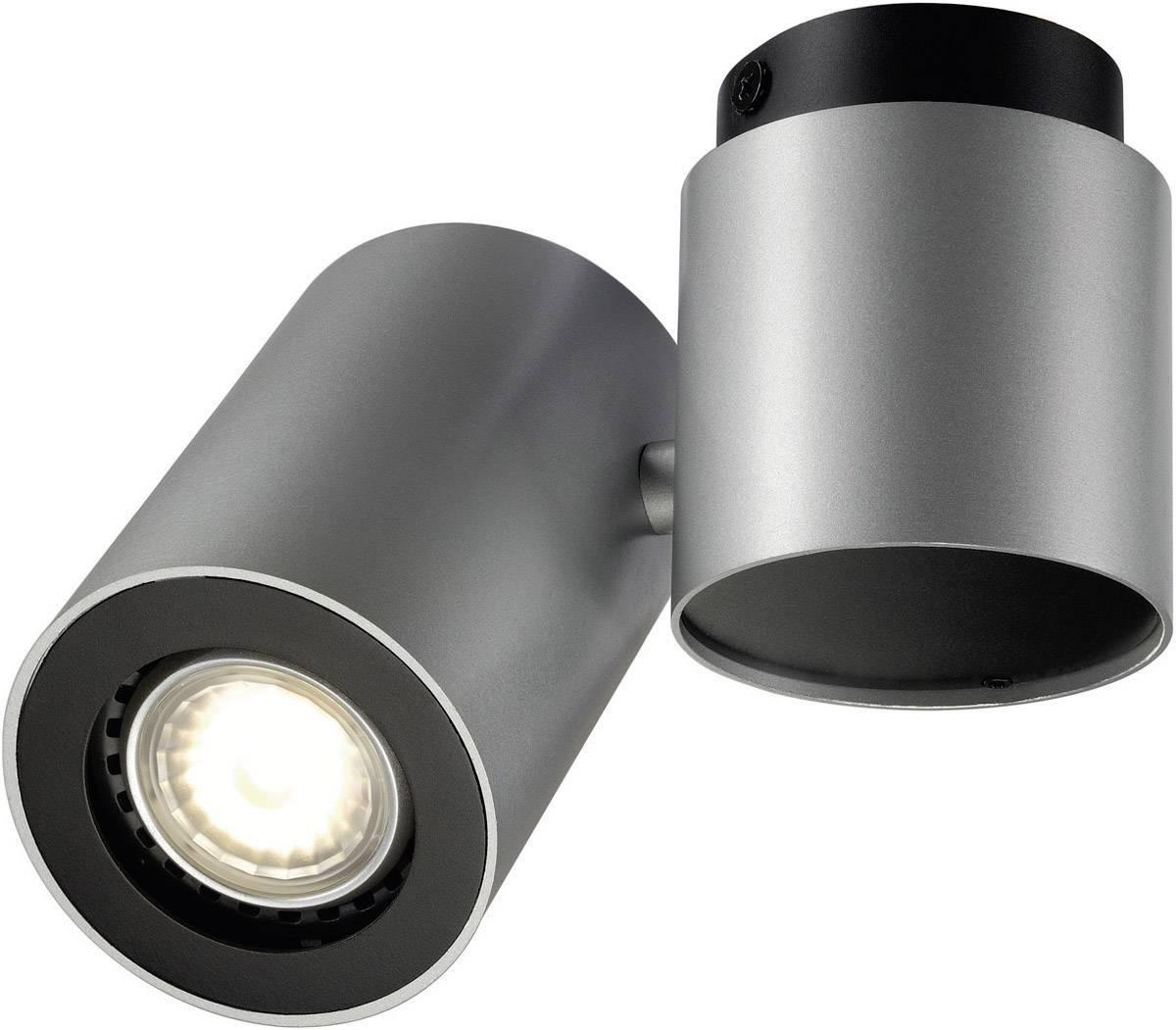 Stropní lampa úsporná žárovka, LED GU10 50 W SLV Enola_B 151824 stříbrnošedá, černá