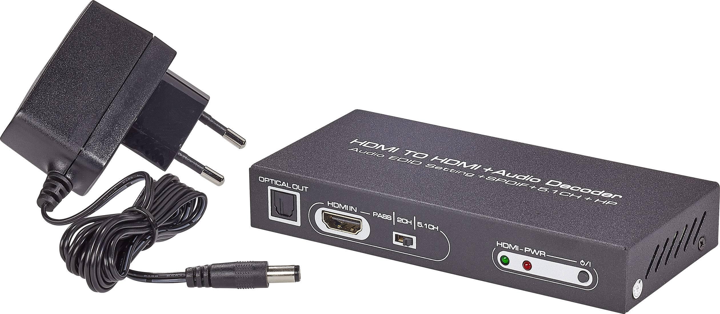 Audio extraktor HDMI zásuvka ⇒ cinch zásuvka, Toslink zásuvka (ODT), HDMI zásuvka, jack zásuvka 3,5 mm SpeaKa Professional SP-AE-H/6K SP-4916328