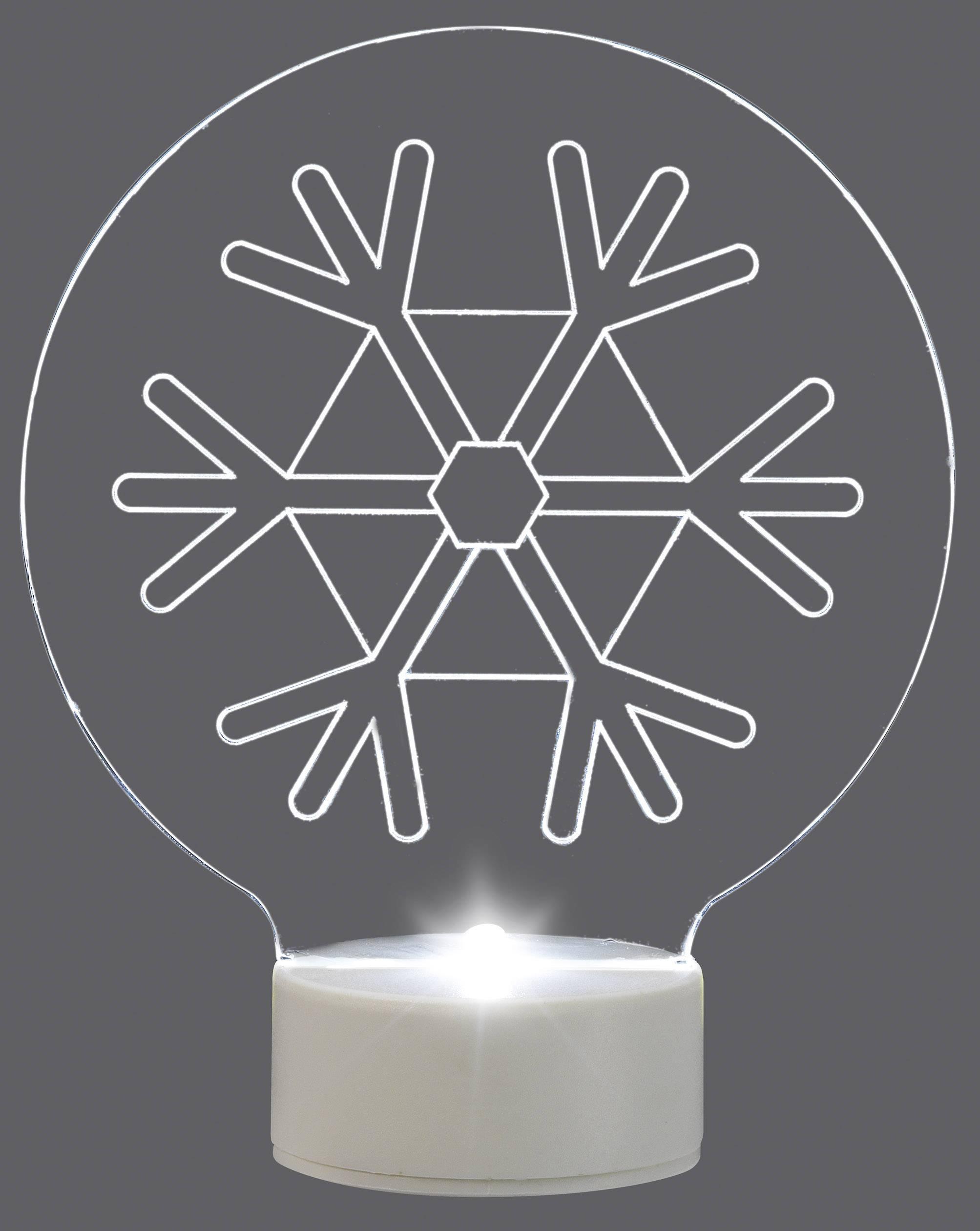 Snehová vločka LED vianočná dekorácia Polarlite LBA-51-008, priehľadná