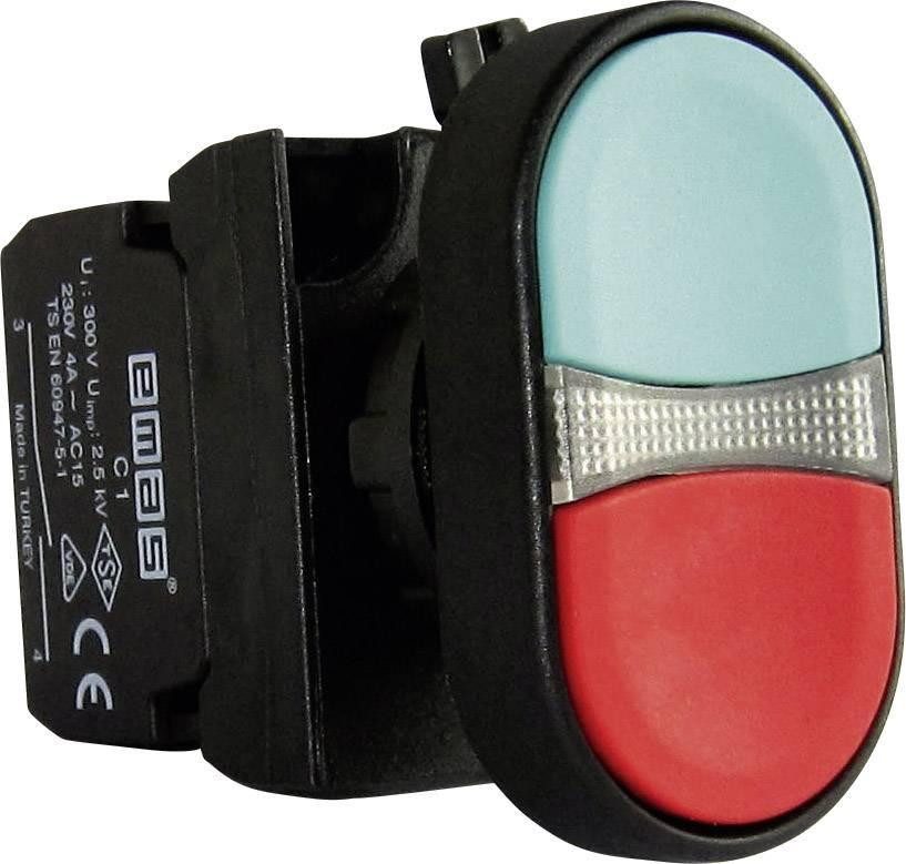 Dvojitý tlakový spínač EMAS CP102K20KY, červená, zelená, 1 ks