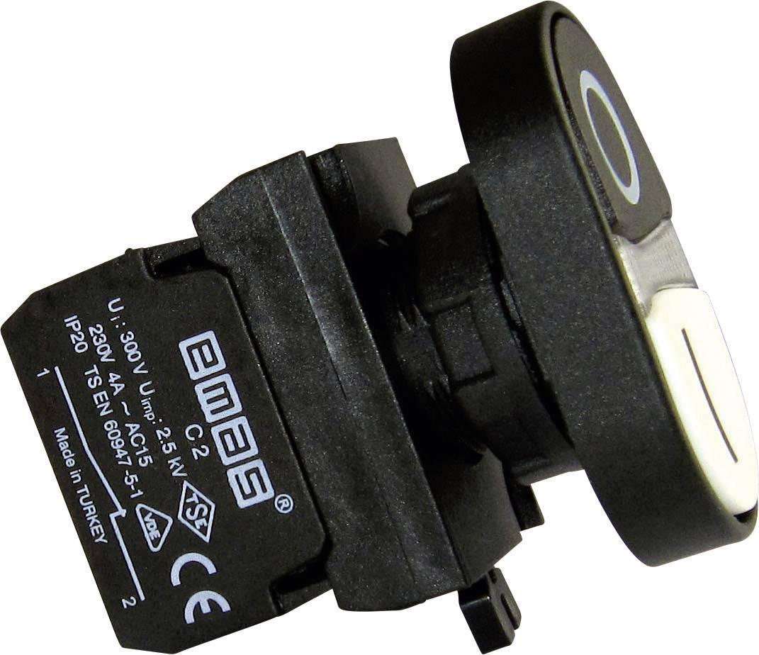 Dvojitý tlakový spínač EMAS CP102K20HB, biela, čierna, 1 ks