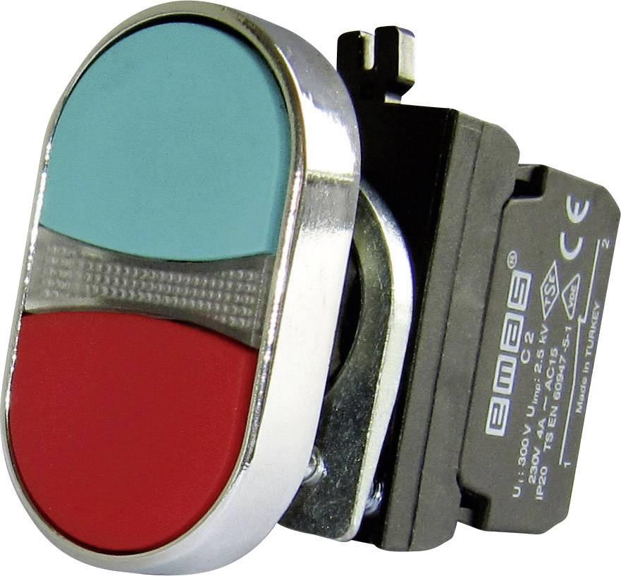 Dvojitý tlakový spínač EMAS CM102K20KY, červená, zelená, 1 ks
