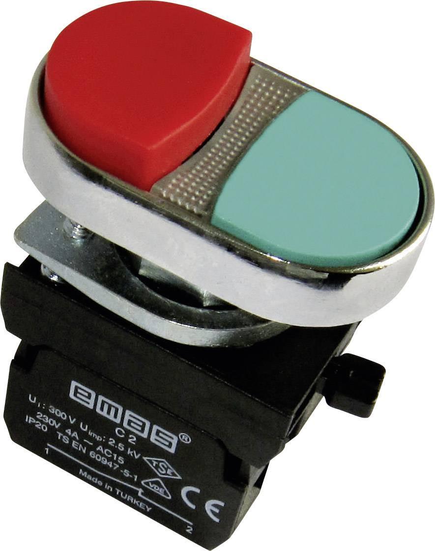 Dvojitý tlakový spínač EMAS CM102K21KY, červená, zelená, 1 ks
