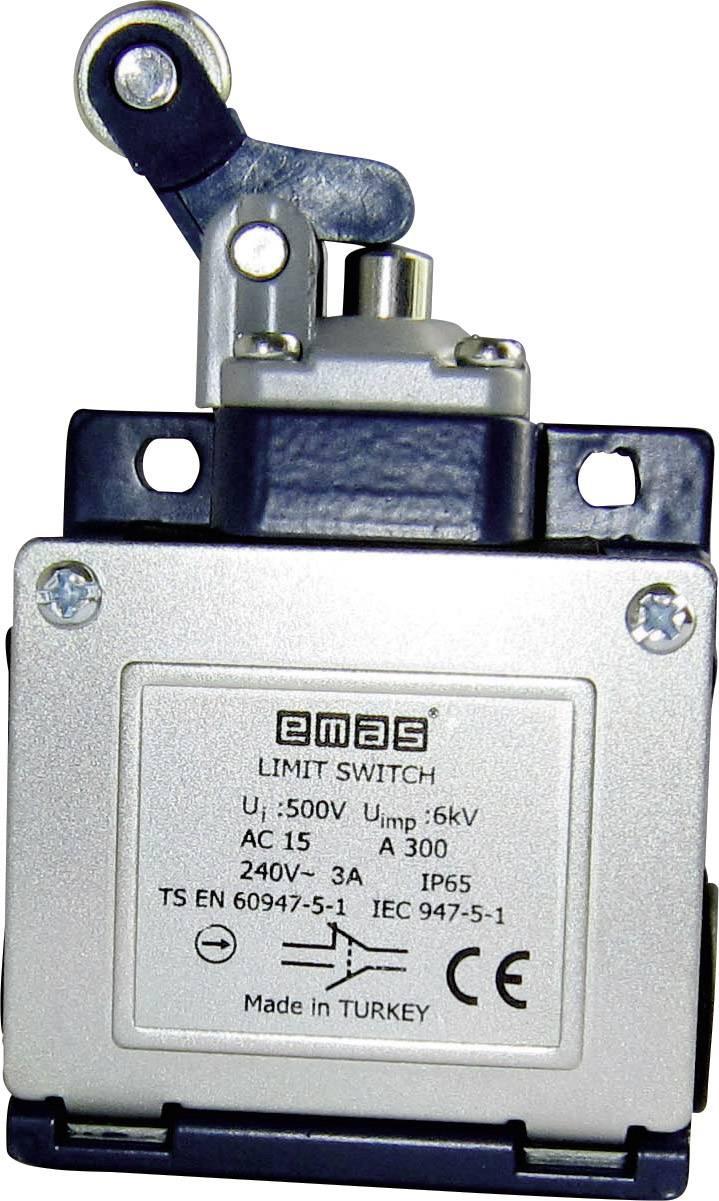 Koncový spínač EMAS L53K13MIM411, 240 V/AC, 3 A, páka s rolnou, bez aretace, IP65, 1 ks