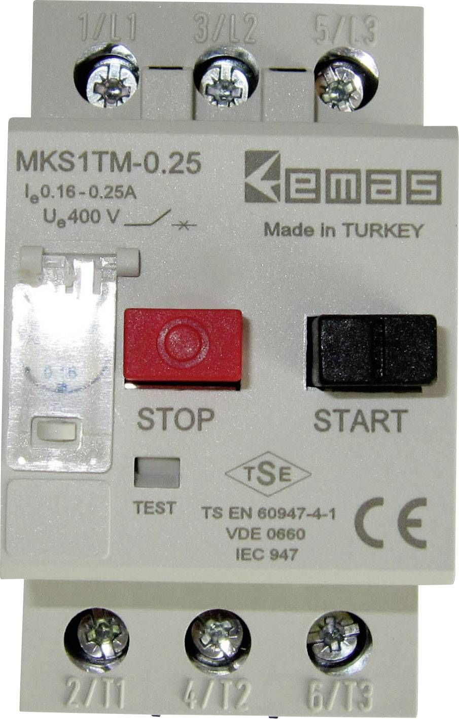 Ochranný spínač motora EMAS MKS1TM-0.25 MKS1TM-0.25, 400 V/AC, 0.25 A, 1 ks