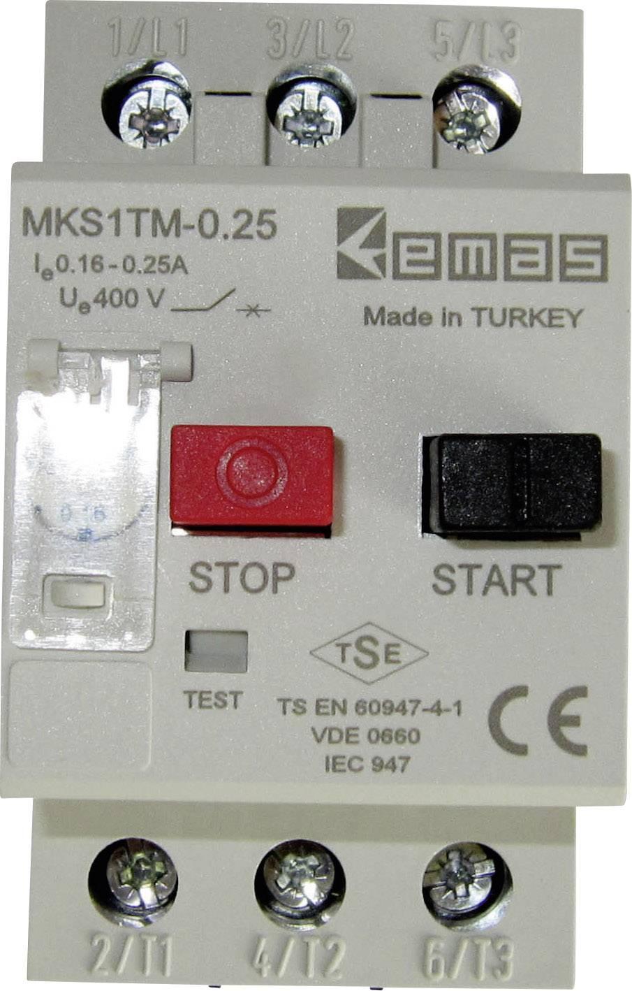 Ochranný spínač motoru EMAS MKS1TM-0.25, 400 V/AC, 0.25 A 1 ks