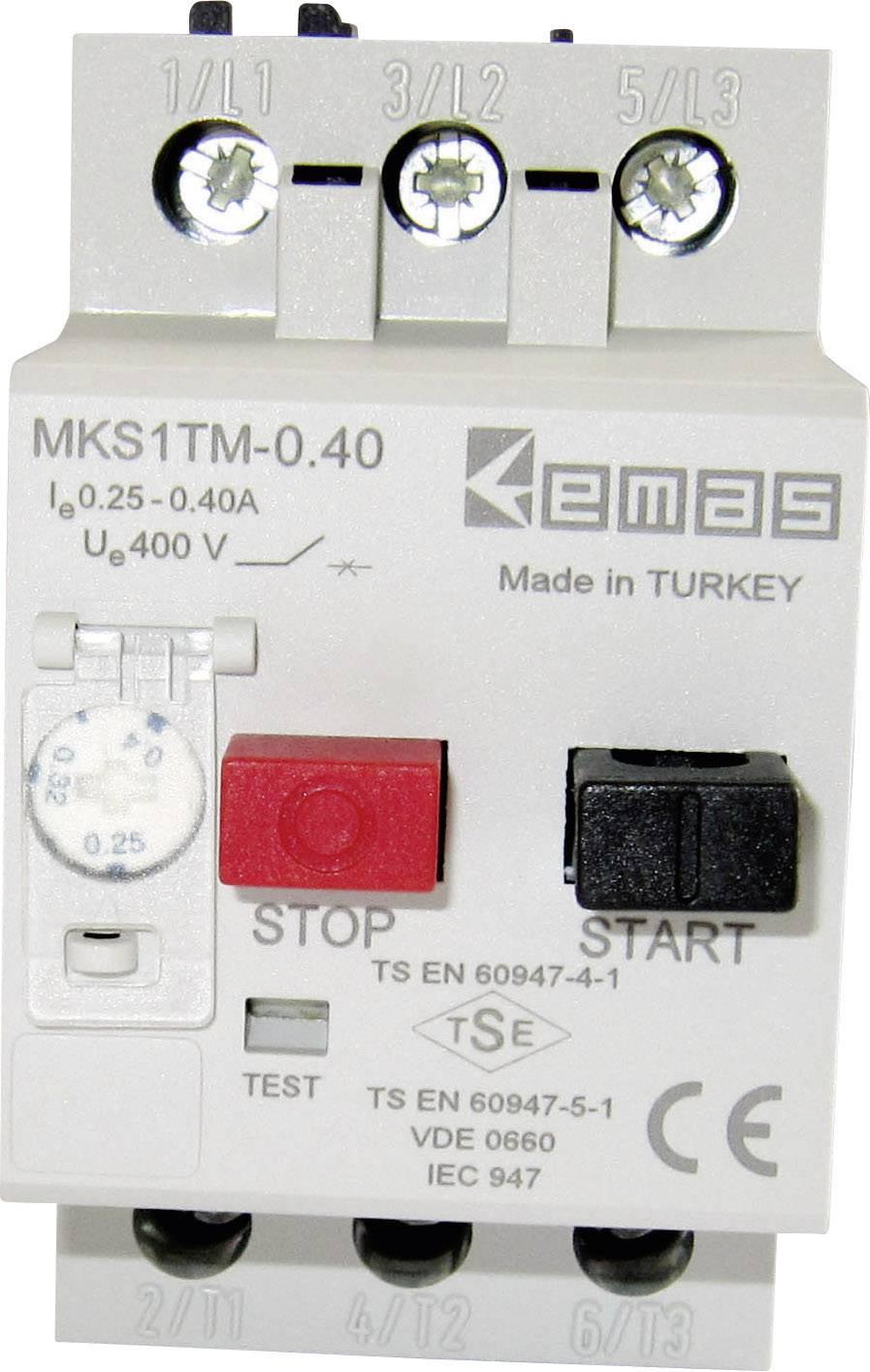 Ochranný spínač motora EMAS MKS1TM-0.40 MKS1TM-0.40, 400 V/AC, 0.4 A, 1 ks