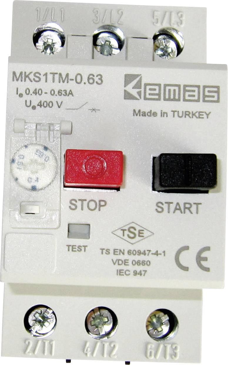 Ochranný spínač motora EMAS MKS1TM-0.63 MKS1TM-0.63, 400 V/AC, 0.63 A, 1 ks