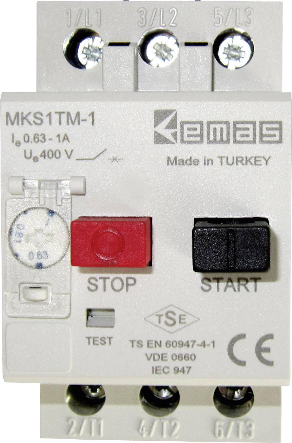 Ochranný spínač motora EMAS MKS1TM-1 MKS1TM-1, 400 V/AC, 1.0 A, 1 ks