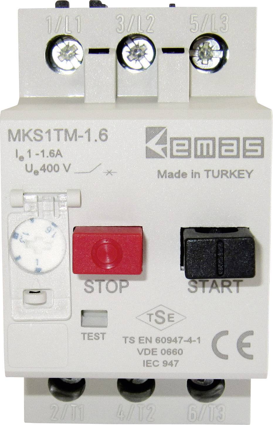 Ochranný spínač motora EMAS MKS1TM-1.6 MKS1TM-1.6, 400 V/AC, 1.6 A, 1 ks