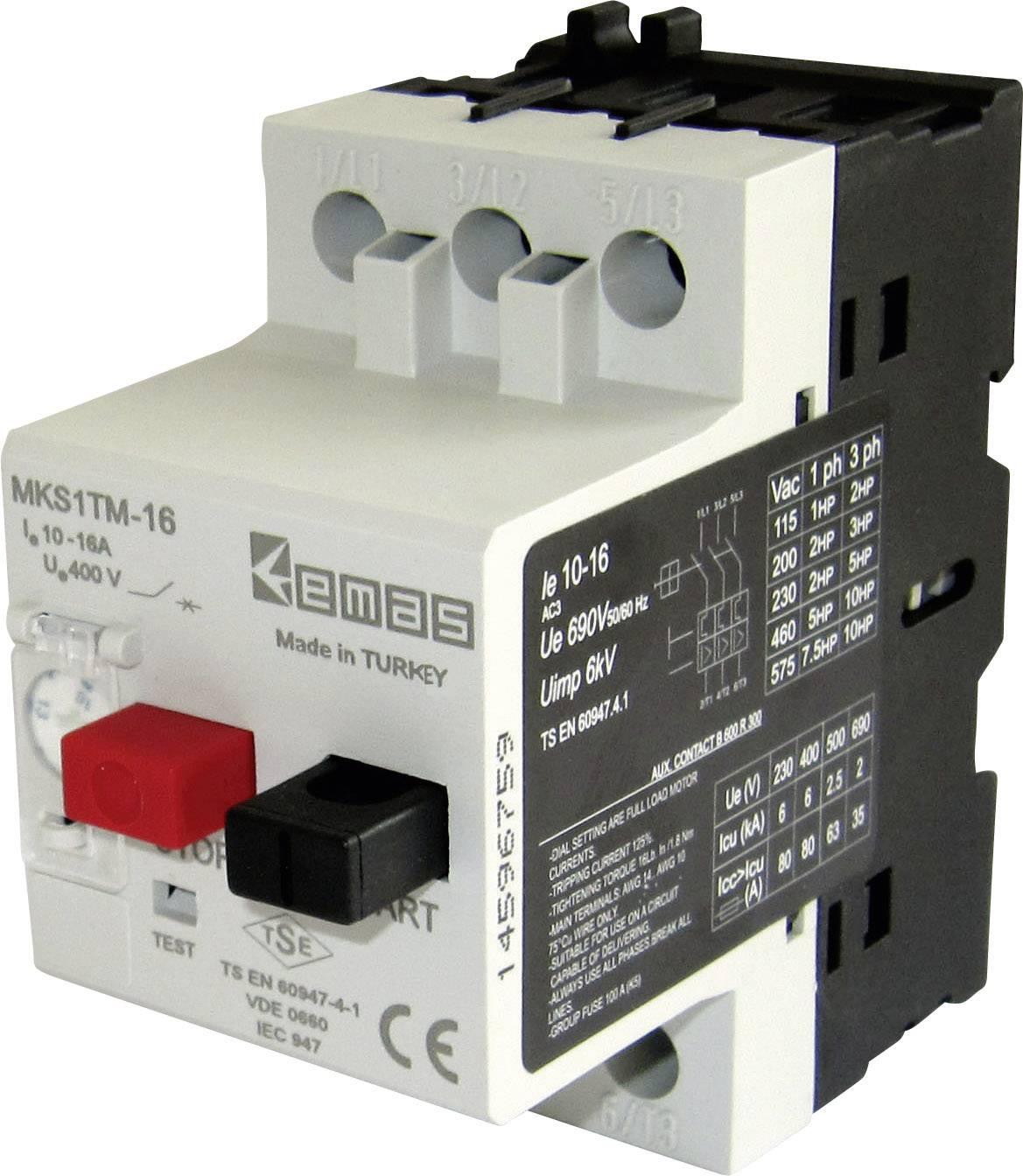 Ochranný spínač motora EMAS MKS1TM-16 MKS1TM-16, 400 V/AC, 16.0 A, 1 ks