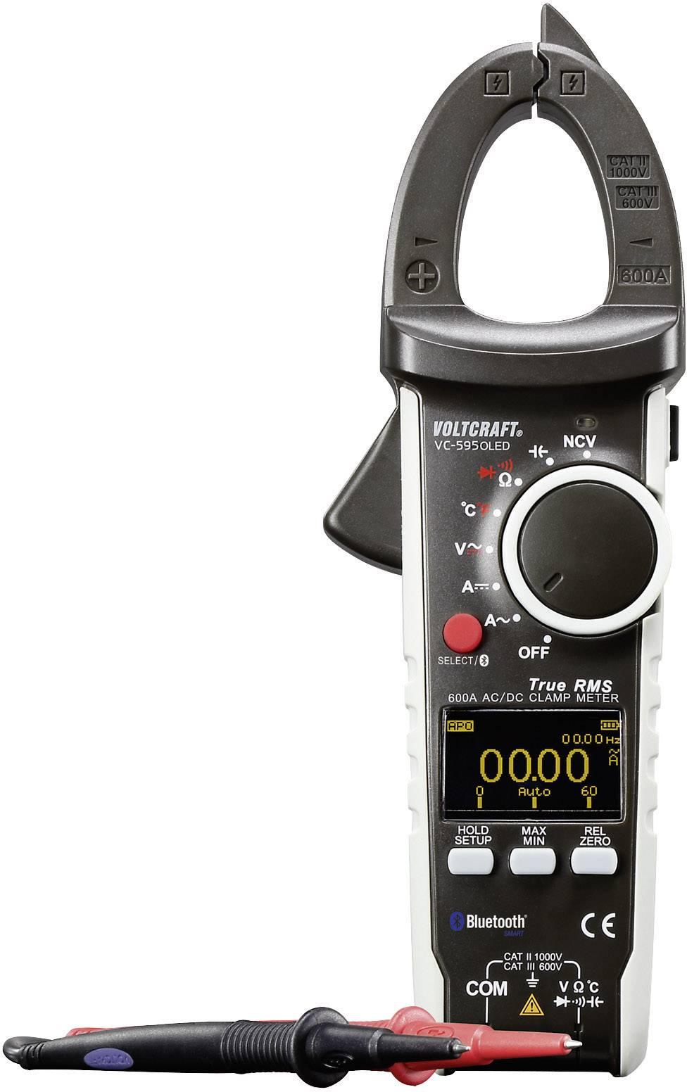 Klešťový multimetr Voltcraft VC-595OLED, AC/DC, Bluetooth