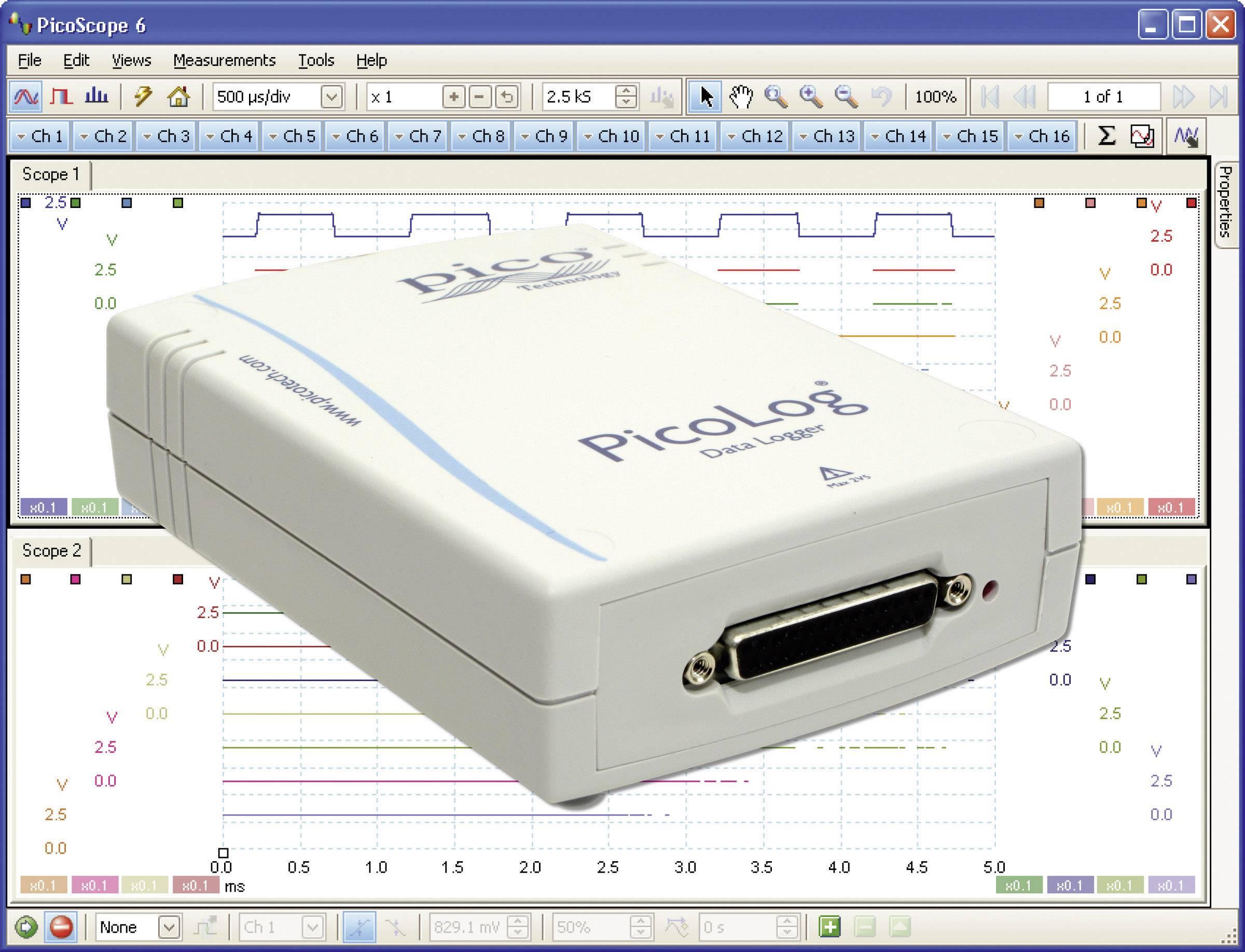 Multikanálový napäťový datalogger pico PicoLog® 1012, 0 - 2.5 V/DC