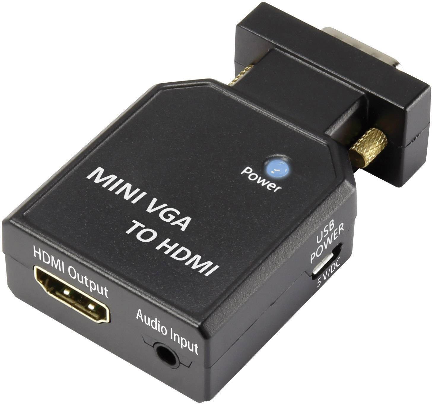 AV konvertor VGA zástrčka, jack zásuvka 3,5 mm ⇒ HDMI zásuvka SpeaKa Professional SP-4923212
