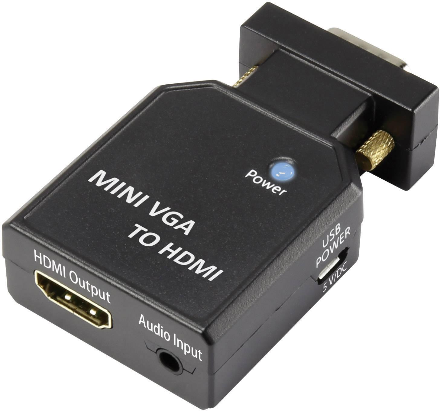 AV konvertor VGA zástrčka, jack zásuvka 3,5 mm ⇔ HDMI zásuvka SpeaKa Professional 1230803 SP-4923212