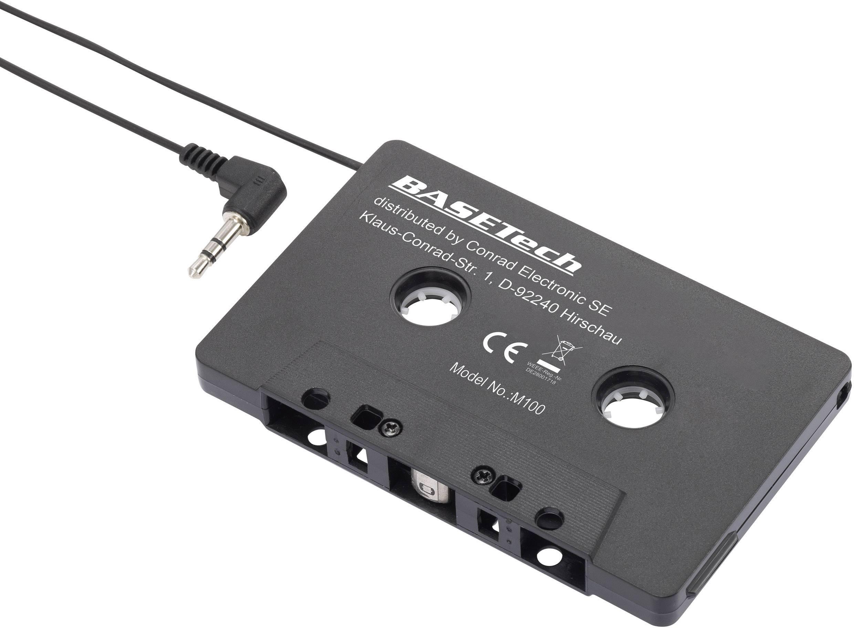 Adaptérová kazeta Basetech, 1230970, CD/MP3, černá