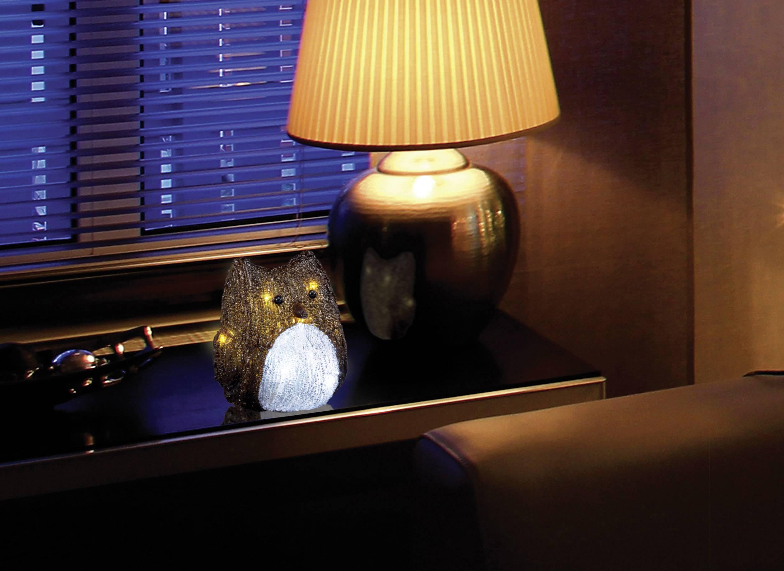Akrylátová LED sova Polarlite LBA-52-003, na batérie