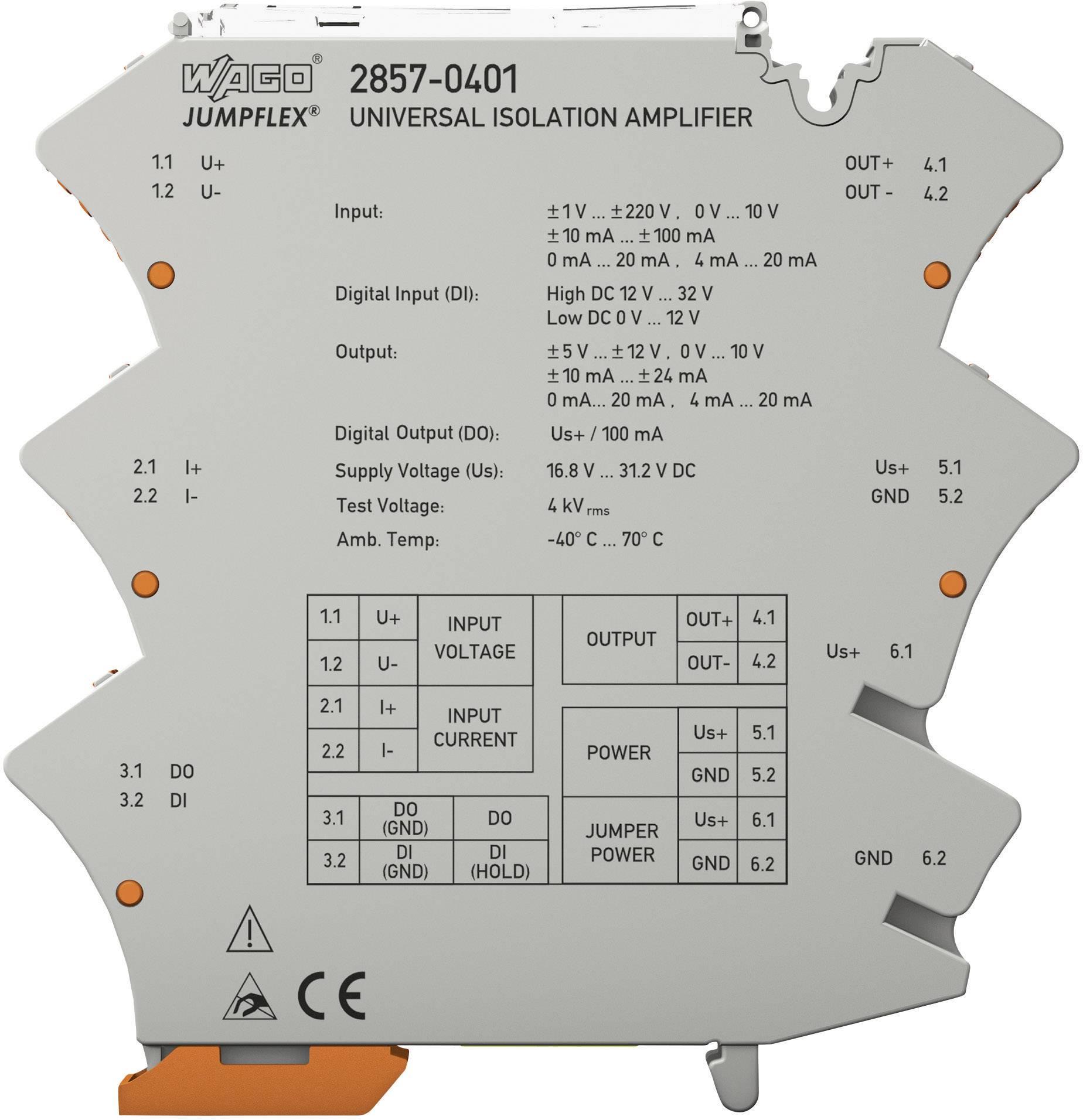 Univerzální oddělovací zesilovač JUMPFLEX® WAGO 2857-401 1 ks