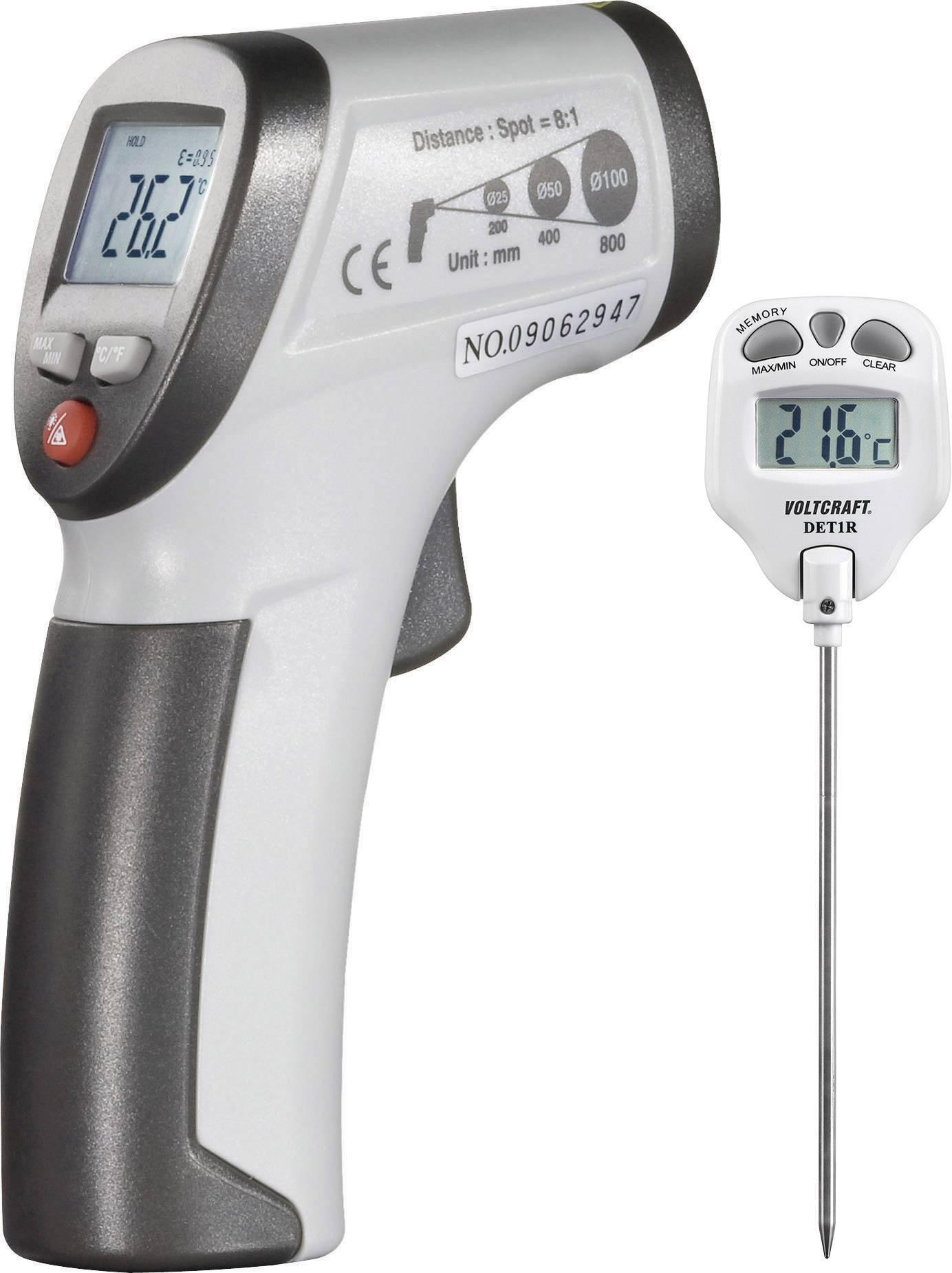 Infračervený teplomer VOLTCRAFT IR 260-8S + DET1R, Optika 8:1, -30 do +260 °C, kontaktné meranie